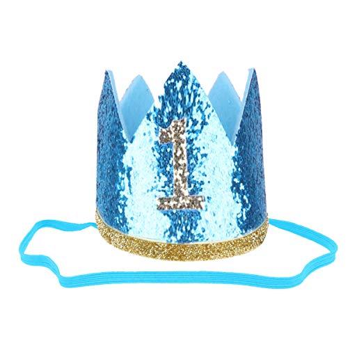 Freebily Baby Geburtstagskrone 1.Geburtstags Hut Glänzend für Infant Junge Mädchen Geburtstagsdeko zu Geburtstag Party Fotografie Blau 1 One_Size