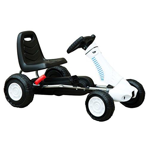 HOMCOM Go Kart Coche de Pedales Deportivo de Acero con Frenos para Niños de 3-8 Años 83.5x48x48cm Acero y Plástico Negro y Blanco