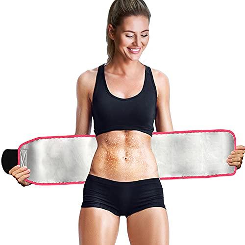 Faja Reductora Abdomen Mujer y Hombre, Deporte Trainer Sudor Waist Trainer Corset Ajustable Espalda Lumbar Cinturon Fajas Termica, Sudor Entrenamiento Sauna Cinturón Nano-Plata Lining para Yoga