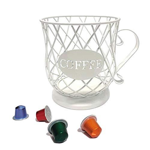 Zller2587 Cestello Portaoggetti per caffè,Porta Capsule di caffè E Tazza Organizer,Coffee Capsule Storage Basket,Grande capacità White