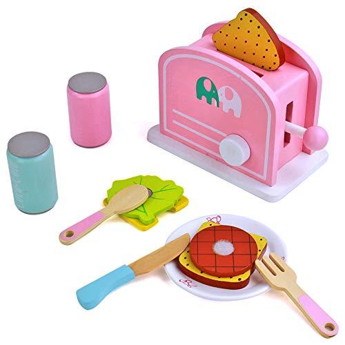 Utensilios Cocina Juguete,Tostadora Pan Comida de Juguetes Montessori Madera Juguete Alimentos de...