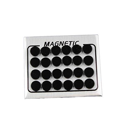N\C 12 Pendientes Redondos de Diamantes de Imitación de Cristal Sin Tachuelas de 7 Mm - Negro