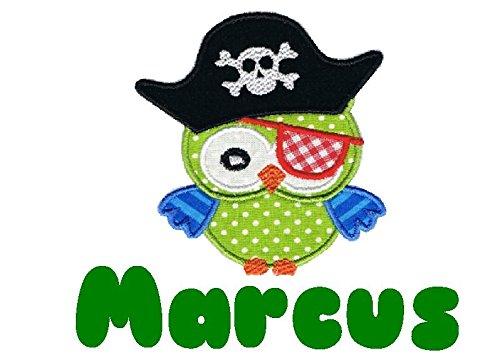 wolga-kreativ Applikation Wunschname Junge Eule Pirat Bügelbild zum selbst Aufbügeln A5