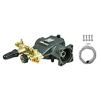 AAA Pumps 90037 Horizontal Triplex Plunger Replacement Pressure Washer Pump Kit 3700 PSI 2.5 GPM 3/4  Shaft Includes Hardware and Siphon Tube for Industrial Gas Powered Machines Green
