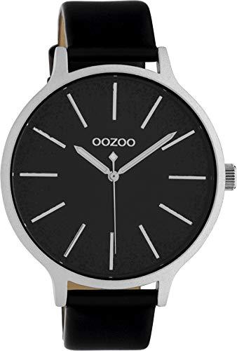 Oozoo Damenuhr mit Glitzereffekt und Lederband 43 MM Schwarz/Schwarz C10404