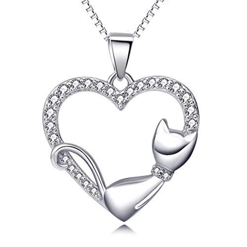 Boenxuan Kette Herz Damen Halskette 925 Sterling Silber Schmuck Weihnachtengeschenk, Damen Frau Freundin Tochter Mädchen Einzelanhänger (Ohne Kette),Silber