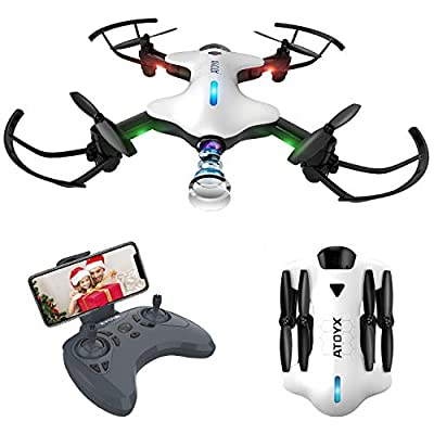 ATOYX HD Camera Drone,720p FPV Real-Time Video Portable Drone,Suitable for Children Beginners or Experienced Pilots,Hold Altitude,Headless Mode,One Button Take Off/Landing,Best Gift AT-146