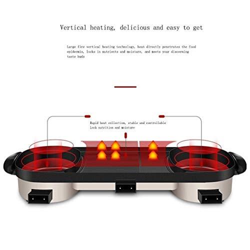 419W tw+OoL - CJTMY Multifunktions-Elektro Hot Pot, Aluminiumlegierung Haushalt Smokeless Antihaft-Grillfach