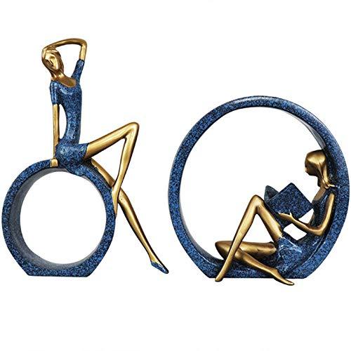 XDYFF Estatua de Yoga Decoracion Figura, Mujer Leyendo Escultura Decorativa Moderna Salon...