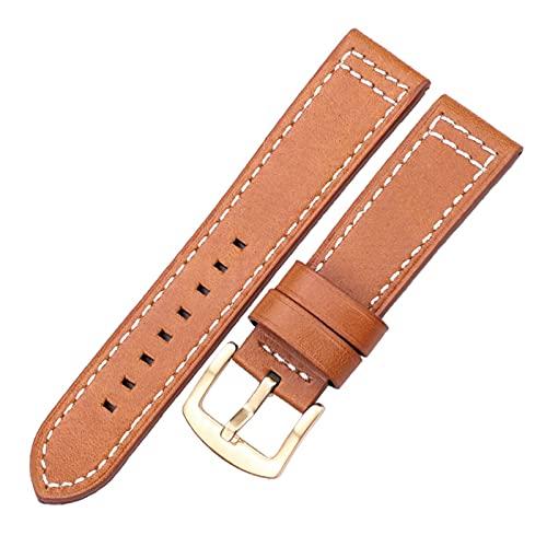 kasu Cuero de la piel de vaquera 18 20 22 24mm mujeres hombres liberación rápida Fit para Samsung Gear S3 Cuero genuino Vintage Watch Band Strap ( Band Color : Brown gold buckle , Band Width : 18mm )