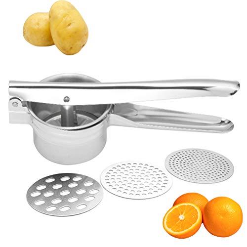 BUYGOO Kartoffelpresse Edelstahl Rostfrei Spätzlepresse, Multifunktional Kartoffelpresse mit 3 Siebeinsätze für die Zubereitung von Kartoffelpüree, Obstsäfte, Gemüsebrei Lebensmittelpresser