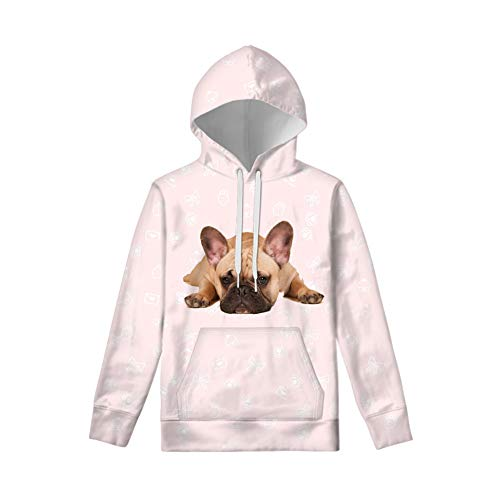 WELLFLYHOM French Bulldog Drawstring Hoodies for Teen Girls Cool Dog Print Long Sleeve Fall Sweatshirt with Front Pouch and Hood Pullover Tops Youth Kids Strings Jacket Outfits Beige Size 8-10