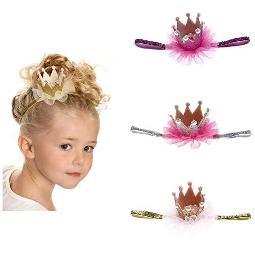 Little Beauty – Juego de 3 diademas con corona de perlas para bebé de 6 meses a 4 años