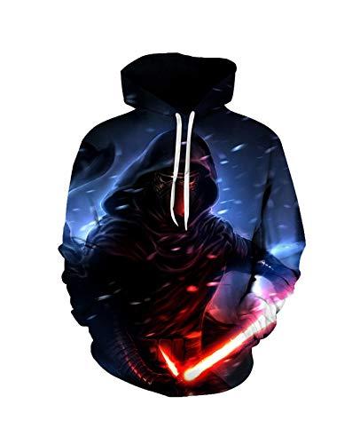 Sweatshirt S-T-A-R W-A-R-S Pullover Hoodie Pullover 3D Druck Unisex Langarm Sport Neuheit Mit Kapuze Mode Weiche Bequeme Männer (Color : A, Size : Small)