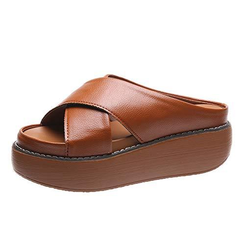 Sandali Con Plateau Gialli Da Donna Pantofole Da Donna Estive Punta Aperta Piattaforma Impermeabile Da Passeggio Da Donna Scarpe Da Donna Vuote Di Grandi Dimensioni 43