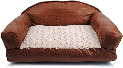 Cozy Pet Bolstered Couch-Style Faux Leather Sofa Pet Bed Brown 29 X 19...