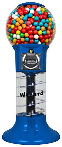 """Gumball Machine 27"""" Set Up for $0.25 Gumballs 1 inch Toys in Round Capsules 1"""" Bouncy Balls 25 mm Blue Spiral Vending Gum Machine Great Gumball Machines Gift for Kids Bubble Gum Machine Without Stand"""