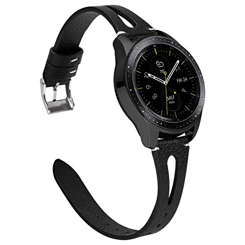 Ownaco Leder Armband Kompatibel mit Samsung Galaxy Watch 42mm Uhrenarmband Frauen Manner 20mm Echtleder Armband Ersatz fur Galaxy Active 2 40mm 44mm 20mm Breite Schwarz