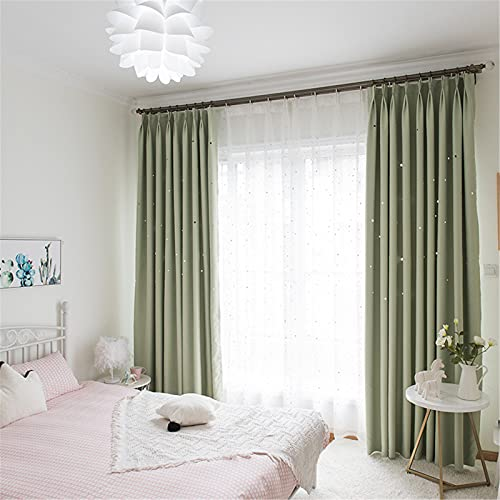FACWAWF Cortina De Sombra De Estrella Hueca De Color Sólido Simple Cortina De Dormitorio De Princesa Estilo Caramelo Tela Multicolor Opcional 300x270cm(2pcs)
