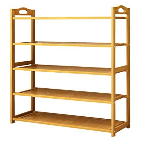 Zapatera Bastidor de zapato de 5 niveles Organizador de almacenamiento multifuncional de gran capacidad Organizador de almacenamiento de bambú Ahorro de espacio zapatero ( tamaño : 50*25*87CM )