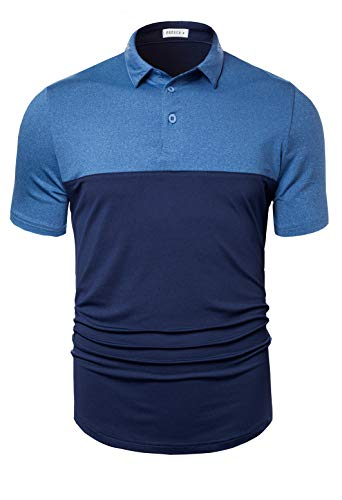 Fresca Men's Stylish 2 Tone Polo Dry Fit Stretch Golf Shirts Collared Shorts Sleeve Casual Athletic T-Shirts Regular Fit Lightweight Sports Tee Deep Navy and Light Blue XX-Large