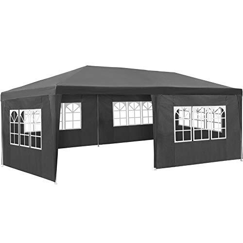 TecTake 800382 Pavillon Partyzelt Gartenzelt Eventpavillon | 3x6 m + 5 Seitenteile mit Fenster | - Diverse Größen (Grau | Nr. 402303)