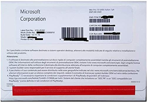 Windows 10 Professional OEM | 64-Bit DVD | Italiano