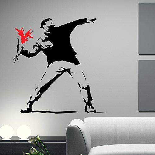 THE VINYL BIZ Banksy Hooligan with Flowers WANDTATTOO WANDAUFKLEBER Wall Sticker Decals