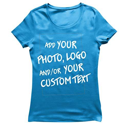 lepni.me Camiseta Mujer Regalo Personalizado, Agregar Logotipo de la Compañía, Diseño Propio o Foto (Medium Azul Multicolor)