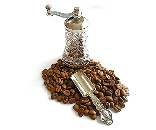 """Silver Pepper & Turkish Coffee Grinder Mill - 4.2"""" Inch/Set of 2 - with Antique Look Casting Carving Spice Spoon - Spice Pepper and Turkish Coffee Grinder - Best Gift Idea"""