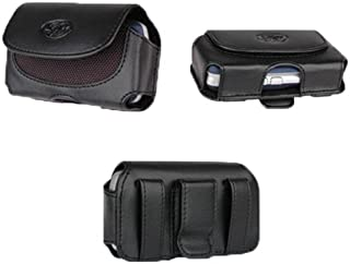 Black Leather Sideways Horizontal Belt Clip Case Pouch Cover For Verizon Samsung Intensity U450 III II U460 Alias 2 SCH U750 Rogue U960 Glyde U940