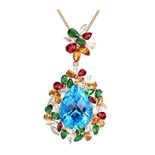 Epinki Oro de 18 Quilates Collar Flores Forma Colgante Mujeres Collar de Diamantees Oro con 21ct Azul Topas