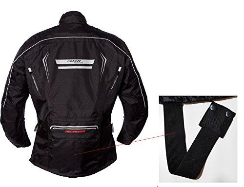 Schwarze Motorradjacke mit Protektoren, Belüftungssystem, Klimamembrane und herausnehmbarem Thermofutter - 10