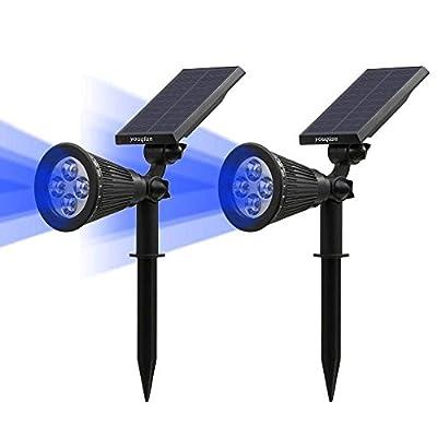 Youqian Solar Lights, 2-in-1 Waterproof 4 LED Solar Spotlight Adjustable Wall Light Security Landscape Lighting Auto On/Off Light Sensor for Patio Deck YardDriveway Pool (2 Pack)