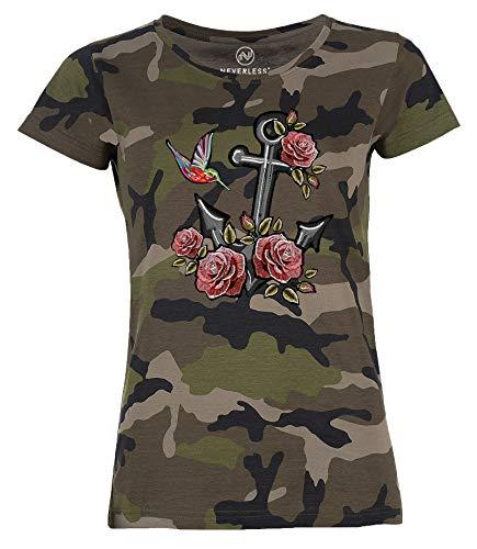Neverless Damen T-Shirt Camouflage Anker Rosen Patch Tropical Anchor Stick-Optik Camo-Shirt Tarnmuster schwarz L