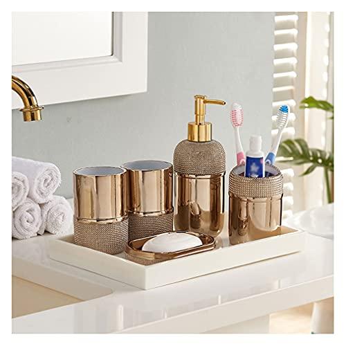 Dosificador Jabón Accesorios de baño de oro Conjunto de accesorios de baño de 6 piezas Conjuntos de accesorios de jabón completo Dispensador de cepillos de dientes Soportes de cepillos de cepillo de v