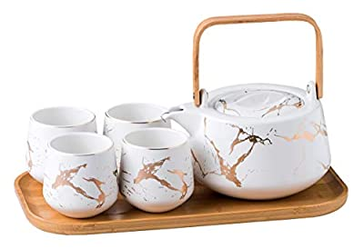 Jusalpha Marble Ceramic Teapot Set, Modern Japanese Tea Pot with Infuser for Loose Tea (40 OZ), 4-Piece Tea Cups (6.7 OZ) with Bamboo Tray - Tea Cups Set for Home and Restaurant, FDJPT4 (White)