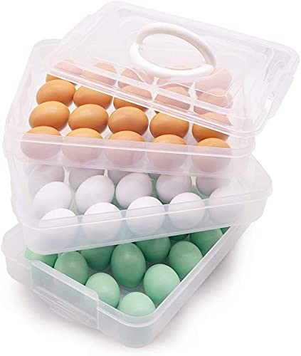 Soporte para huevos, bandeja de huevos de 3 capas con tapa, contenedor dispensador de huevos con mango para 60 huevos