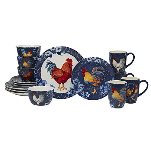 Certified International Indigo Rooster 16 pc Dinnerware Set, Service for 4, Multicolor