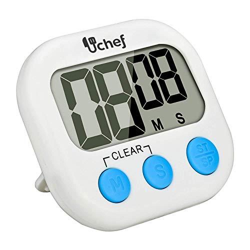 U Chef Temporizador digital de cocina, Cronometro de cocina, Uso simple, Base magnética, Dígitos grandes, Alarma fuerte, Reloj de Cocina/Alarma para cocina