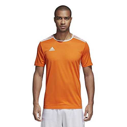 adidas Mens Soccer Entrada 18 Jersey, Orange/White, Large