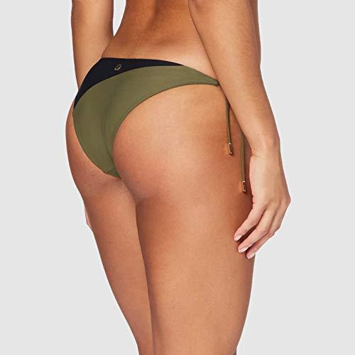 Calvin Klein Damen Cheeky String Side TIE Bikini Bikinihose, Mehrfarbig (Black/Military Green 045), 34 (Herstellergröße: XS)