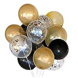 """56 Pcs 12""""Noir er Or Ballons er Or Cofettis Ballons pour fête décorations"""