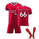 ZYWCXM Uniformes de fútbol Infantil y de Hombres 2021 66# Alexander-Arnold Jersey, fanáticos de fútbol de Secado rápido con Calcetines 16