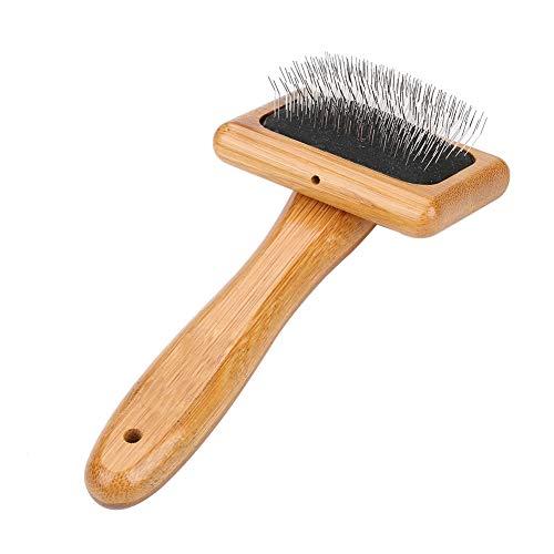 Oumefar Peine de bambú Saludable para el Pelo de Perro Cepillo de Madera para Mascotas ecológico Cepillo para Masaje y Aseo con cerdas Redondeadas(Uncharged)