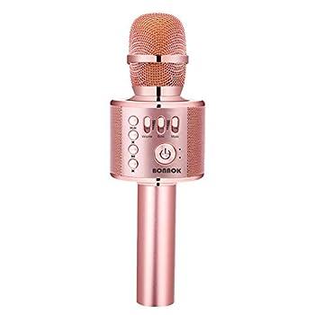 BONAOK Karaoke Microphone Bluetooth Wireless Portable Karaoke Machine Mic Speaker for Kids and Adults Home Party Birthday  Rose Gold Plus