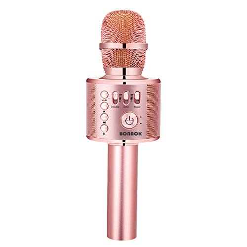 BONAOK Karaoke Microphone Bluetooth Wireless, Portable Karaoke Machine Mic Speaker for Kids and Adults Home Party Birthday (Rose Gold Plus)
