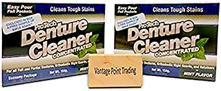 Protech Denture Cleaner & Night Guard Cleaner - Cleans and Disinfects! 2-Pack with FREE Vantage Point Trading Brush!