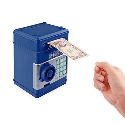 Frontoppy Hucha Contadora, Hucha Electrónica, contraseña, Cerdito, Hucha de Monedas, Juguetes de los Regalos para Niños con Sonido (Cajero automático-Azul)