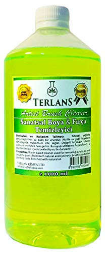 Terlans Water Based Art Paint Artist Brush Cleaner Restorer for Removing Dried Acrylics and Oil Paint from Bristles Painting tools (33.8 oz) -  Tarlan Chemistry LTD, TERLANS-SM-2